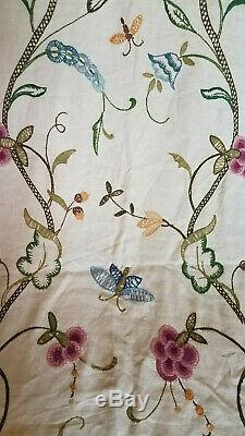 Antique Crewel Embroidered Drapery Curtains Fabric Panels 1of3 pair acorn moth