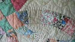 Antique DOUBLE WEDDING RING QUILT Hand Quilted, Multi-Color Pastel, 84x76