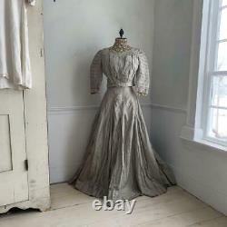 Antique Dress skirt & bodice set American 19th Century Silk and Cotton Silvery