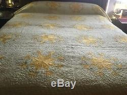 Antique Early Quilt HAND Quilted QUILT-Stunning 76 x 86 Star Pattern