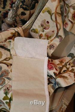 Antique English Embroidered Crewelwork Pelmet Bed Valance Canopy Woolwork Floral