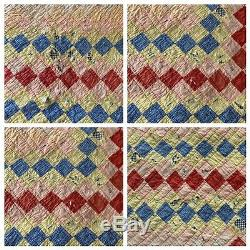 Antique Family Quilt Patchwork 1.5 Postage Stamp Squares Trip Around the World