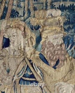 Antique French 15-16th c. Aubusson Tapestry Panel, Horses, Lord & Lady, Soldiers