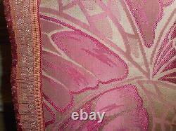 Antique French Art Deco Satin Brocade Fabric Curtain Butterfly Web Magenta