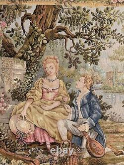 Antique French Aubusson Style Wall Hanging Tapestry 100 X 120 Cm