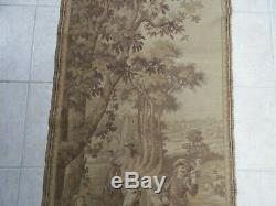 Antique French Embroidered Hunting Tapestry Dogs Horses 1800's 26x58