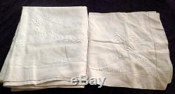 Antique French Embroidered Linen B Monogrammed Trousseau Sheet & Table Scarf