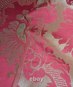 Antique French Floral Damask Silk Brocade Fabric Pomegranate Red Icy Soft Green