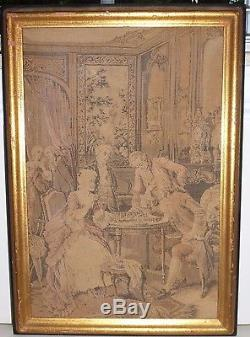 Antique French Gobelin Tapestry w American Foster Brothers Arts & Crafts Frame