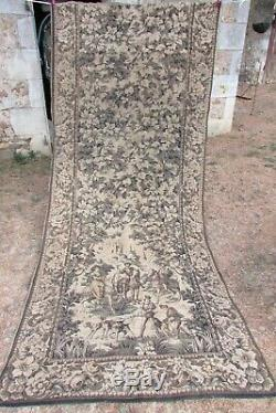 Antique French HUGE Tapestry Portiere Door Curtain Country Scene Acorn 4ft x 9ft