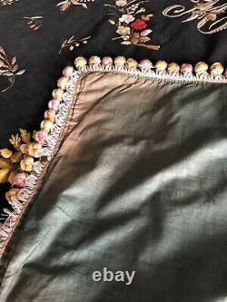 Antique French Hand Embroidered Bed Cover M Monogram. Beautiful