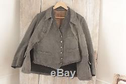 Antique French Hunting jacket + Vest suit matching set animal buttons chorewear