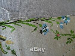 Antique French Ivory Floral Silk Brocade Textiles Fabric 26 x 35