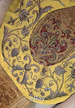 Antique French Metallic Embroidered Applique Stumpwork Flowers Roses