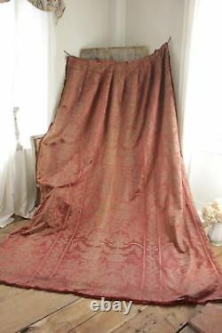 Antique French Pink old silk damask 19th century curtain drape trim backed