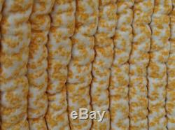 Antique French Provencal quilt double sided cotton yellow floral boutis 1910