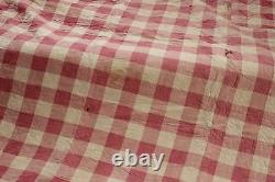 Antique French Quilt 1820 pique Provence printed fabric Vichy check + printed