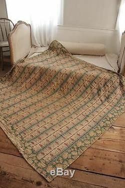 Antique French Quilt 1820 pique Provence printed fabric small scale print cotton