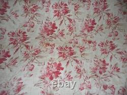 Antique French Shabby Roses Floral Two Fabric Boutis Quilt Pique blush pink red