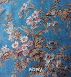 Antique French Sky Blue Home Cotton Floral Fabric Sample With Original Tags c1873