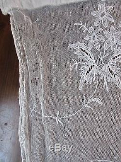 antique french tambour lace curtain panels 91 x 33 lot of 3