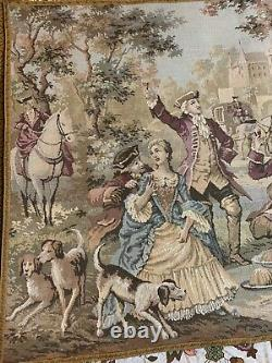 Antique French Tapestry Wall Hanging Aubusson Style 98 By 138 Cm