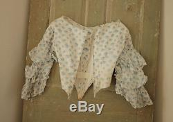 Antique French bodice victorian blouse 1850's white with blue flowers corseted