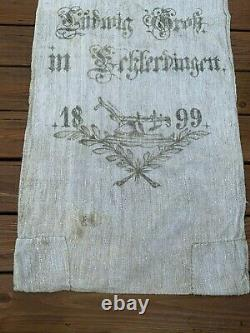 Antique German Grain Feed Sack Bag with Rare Graphics Two Sided 1899 Ex Long