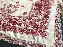 Antique HAND EMBROIDERED Lace Red Cream LINEN BEDCOVER TABLECLOTH 80x120