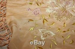 Antique Hand Embroidered Silk Piano Shawl 48 By 50 Plus 14 Fringe