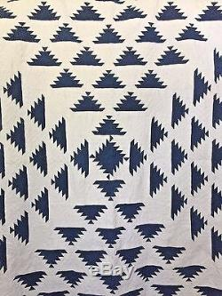 Antique Hand Sewn Indigo and White Pine Tree Quilt with Provenance 1860
