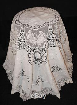 Antique Lace Linen Tablecloth Italian Filet Milanese Appenzel Figural 93  Round