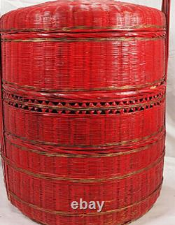 Antique Large 22 3 Tiered Chinese RED Wedding Sewing Wicker Basket