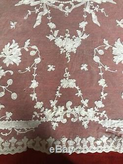 Antique Large Lace French Alencon Lace Tablecloth 1970mm by 1630mm