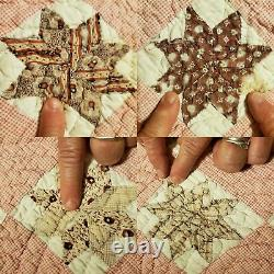 Antique LeMoyne Star 8-point in Box Quilt 140+ years old. Stars are stuffed