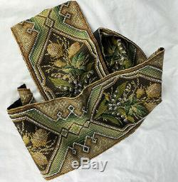 Antique Needlepoint Beadwork Panel, 56 Long 7.5 Wide, For Throw Pillow Pair
