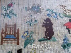 Antique Needlepoint Sampler Animals, Children, African Americans & Other Images