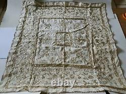 Antique Ottoman Handmade Embroidery Gold Tinsel cloth Linen 1930's Tughra flower