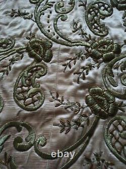 Antique Ottoman Silk Hand Embroidered Panel Fabric Textile
