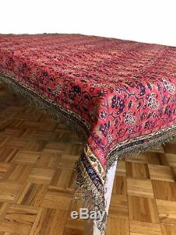 Antique Persian Handwoven Red Termeh Table cloth Paisley Silver Embroidery