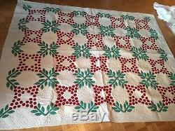 Antique Quilt With Red and Green Floral Appliqué
