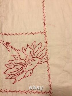 Antique Red Work Quilt, hand-stitched and embroidered Dated Oct 1894 Good Luck