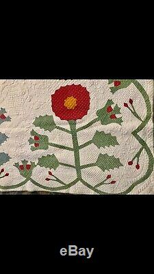 Antique Rose Of Sharon Variation 75X 84 C 1855 Handmade Quilt Appraised $2,000