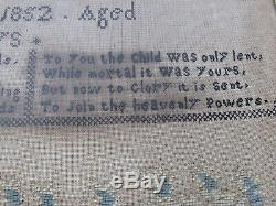 Antique Sampler In Memory of Eli Collier Died in1852 Age 12 Days Embroidered