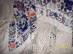 Antique Silk fabric silk hand Embroidered Piano Shawl CHINA OR Spain Beautiful