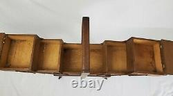 Antique Tiered Sewing Chest Cabinet Box Accordion Oak Wood On Wheels Art Deco