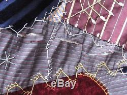 Antique Victorian Crazy Quilt Colorful with Embroidered Patches