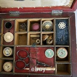 Antique Victorian Leather Bound Sewing Case Etui With Contents