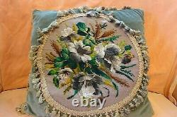 Antique Victorian needlepoint and beadwork cushion / pillow