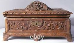 Antique Victorian wood Carved Jewelry or sewing Box 100 years old (s4876)
